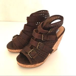 Strappy Wedge Sz 9 M Brown Cork Wedge Sandals